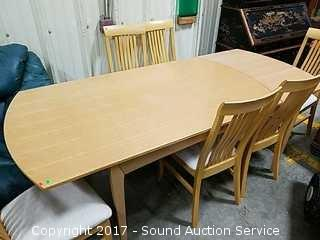 Blonde Wood Dining Table W/ 6 Chairs & Leaf
