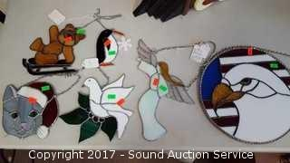Collection of 6 Stained Glass Hanging Decor