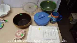 Pottery Bowls, Casserole, Cake Plate & More