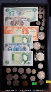 Tray of Foreign Paper Money & Coins
