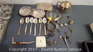 Lot of Silver & Silverplate Trinkets & Jewelry