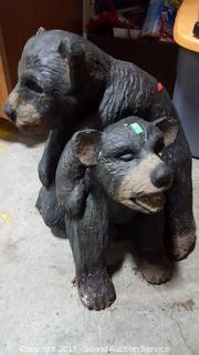 Solid Concrete 2 Bears Playing Yard Art Sculpture