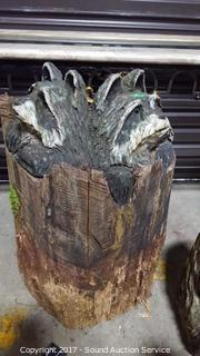 Chainsaw Carved Raccoons In Tree Stump