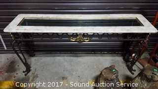 Wrought Iron, Marble & Glass Top Sofa Table