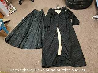 Vintage Black Nylon Robe/Cloak & Skirt