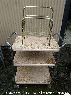 Rustic Metal Cart & Magazine Rack