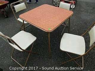 Metal Folding Card Table & (4) Folding Chairs