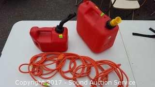 2 Gas Cans & 50ft Extension Cord
