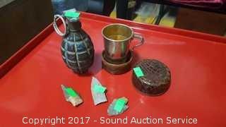 (3) Genuine Arrow Head, Grenade & Travel Cup