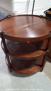 Round 3 Tier Wicker Woven & Wood Side Table