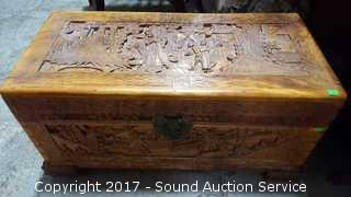 Hand Crafted & Carved Camphor Wood Thailand Trunk