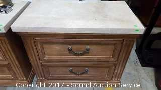 Drexel Heritage Terracotta Tile & Wood Night Stand