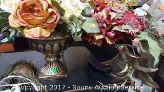(4) Interior Accent Silk Plants & Night Lights