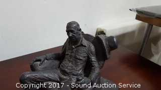 1973 Michael Germain Signed Clay Cowboy Sculpture