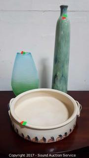 Signed Pottery Vase, Bowl & Art Glass Vase
