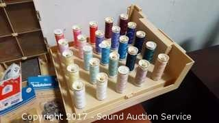 Sewing Box Loaded W/ Thread, Bobbins & More
