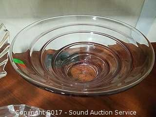 3 Piece Art Glass Console Bowls & Covered Dish