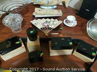 Lot of Asian Collectible Boxes, Fan & More