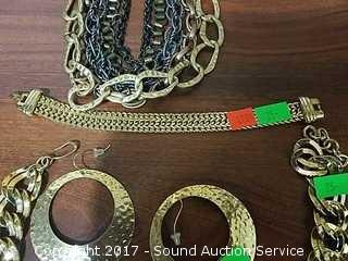Lot of Gold Tone Chain Link Costume Jewelry