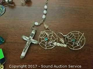 (6) Pairs of Fashion Earrings & Rosary