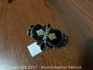Antique 14K Gold & Jet Black Brooch / Pendant