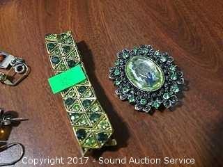 Vintage Amber & Green Rhinestone Costume Jewelry