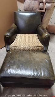 Green Leather & Duck Feathers Chair & Ottoman