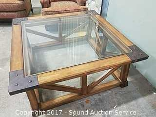 Large Solid Wood Beveled Glass Top Coffee Table