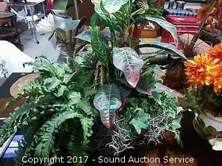 (3) Interior Accent Potted Silk Plants