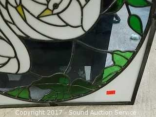 Stained Glass Swan Window Decor