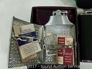 Ronson Lighter, Flask & Drink Cozies