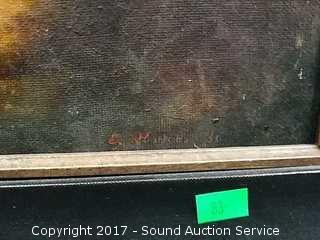 Original Signed Oil on Canvas Boy Fishing