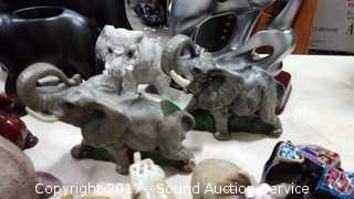 Massive Lot of Elephant Figurines & Candle Holders