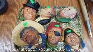 (6) Vintage Bossons Chalk Busts
