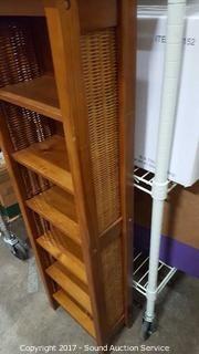 Wood & Wicker Woven Shelving Unit