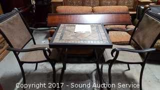 Nice Patio Bistro Table & Chairs W/ Custom Cover