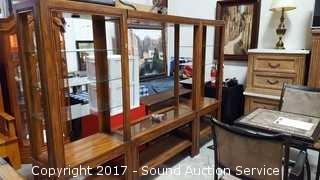 4 Piece Light Up Wall Unit W/ 6 Glass Shelves
