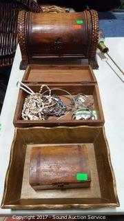 Wooden Boxes & Some Silver Jewelry