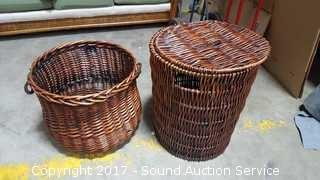 (2) Cherry Stained Wicker Woven Baskets/Hampers