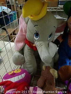 Lot of Disney Stuffed Animals & Wire Rack