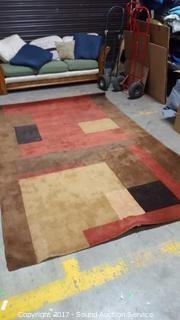 Geometric Wool Area Rug 9' x 6'