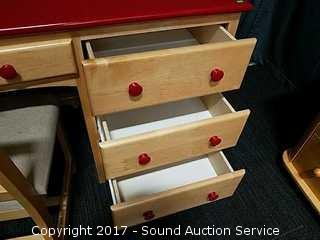 Childrens Red Top & Maple Contemporary Desk