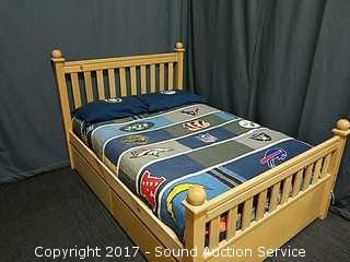 Blonde Maple Full Size Boys Bed W/ Under Storage