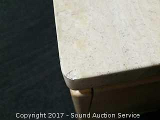 Thomasville Oak Whitewash Marble Top Night Stand