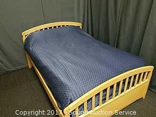 Full Size Maple Bed W/ Comforter & Pillows