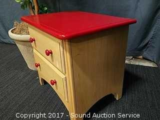 Ragazzi Red Top & Maple Contemporary Night Stand