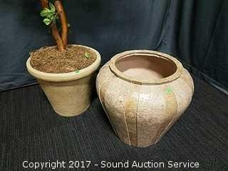 """Handmade Kreiss Travertine Tile Planter 19"""" x 21"""""""