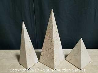 """3 White Basalt/Marble Obelisks 6.5""""-12"""""""