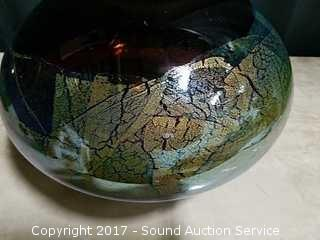 Artist Signed 2002 Gold Flake Art Glass Vase