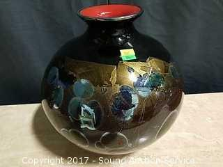 Artist Signed 2002 Gold Flake Art Glass Vase